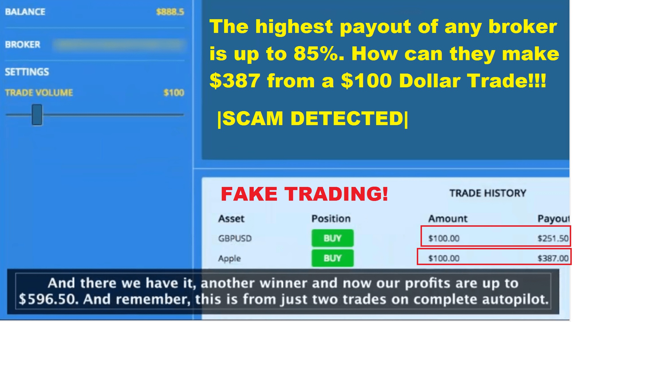 The binary trader fake